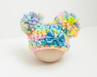 Newborn Girl Easter Parade Double Pom Hat Spring Handspun Merino Thick Thin RTS