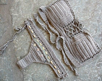 Bandeau bikini, Strapless crochet bikini, Shell bikini, Crochet bikini set,  Crochet Bandeau Swimsuit, Bandeau bikini set
