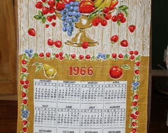 1966 Linen Tea Towel Calendar Vintage Wall Hanging