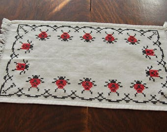 Ladybugs Hand Embroidered Table Runner Centerpiece Mat Counted Cross Stitch