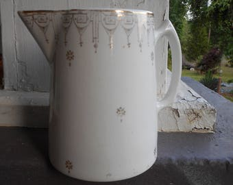 Vintage Antique Edwin M Knowles China Semi Vitreous Porcelain Syrup Pitcher. gilded