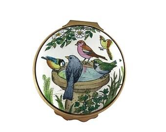 Halcyon Days Enamel Box Collectible Trinket Box English Enamel Birds & Birdbath