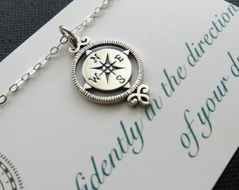 Graduation necklace, compass rose pendant, sterling silver, high school, college, gift, journey necklace