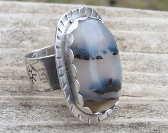 Montana Agate Sterling Silver Ring - Size 8 1/2