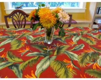 Tablecloth #30, Table Cloth, Table Cloths, Tropical Table Cloth, Tropical Tablecloth, Bird Tablecloth, Rectangle Table Cloth, Cotton Linens