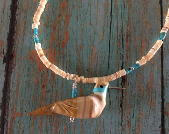 New Mexico Hand Carved Hummingbird Fetish Necklace Melon Turquoise Sterling Silver