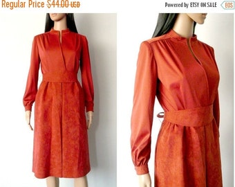 FALL SALE 15% OFF 80s brown suede dress wrap style belted bow ties midi long sleeves mandarin collar reddish rust secretary small S