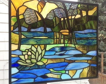 "Lily Pond Landscape Panel --14"" x 16"" -  Stained Glass Window Panel"