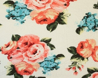Peach Cream and Green Floral Rayon Spandex Jersey Knit Fabric, 1 Yard