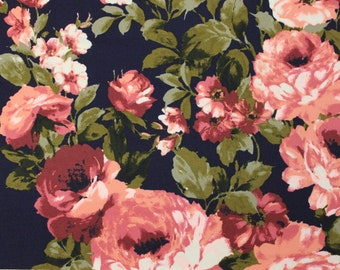 Navy Coral Burgundy and Green Floral Brushed Poly Spandex Knit, 1 yard