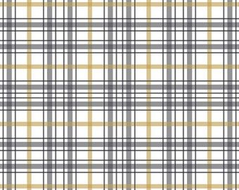 Grey Gold Blake and White Metallic Plaid Fabric, When Skies Are Grey by Simple Simon & Cmpany for Riley Blake, Skies Plaid in White, 1 Yard