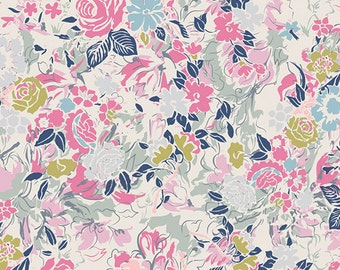 Fuchsia Navy Grey and Green Floral Knit Fabric, Ethereal Fusion By Art Gallery Designers, Millefiori Ethereal, 1 yard Jersey KNIT