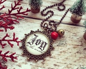 joy to the world Christmas necklace