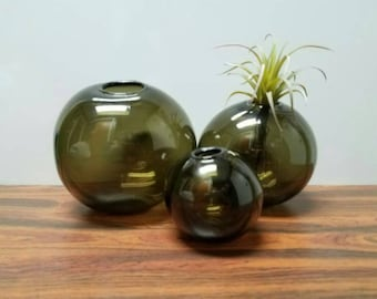 Mid Century Charcoal Glass Orb Vases set of 3