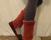Women's 9 to 10 (EU 40 to 42) HOLIDAY SNOW Felted Wool Soccasins with Leather Soles, Toes and Heels