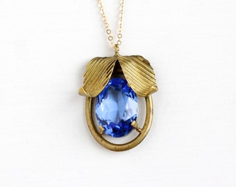 Vintage Art Deco Blue Glass Stone Brass Leaf Pendant Necklace - 1930s Oval Simulated Sapphire Leaves Charm on 14k Gold Filled Chain Jewelry