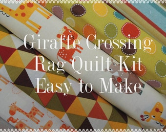 Rag Quilt Kit, Giraffe Crossing 2, Kit 1, Super Simple to Make, Personalized, Bin A, Optional Sewing Available