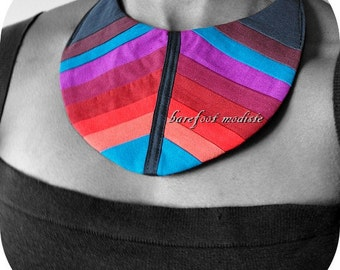 Patchwork Fabric Neckwear, One of a Kind, Unique statement Bib, Chakra Collar, Bohemian NeckCuff, OOAK Barefoot Modiste Handmade, One Size