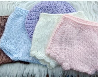 Baby Knit Diaper Cover (GRAY NEWBORN - RTS)