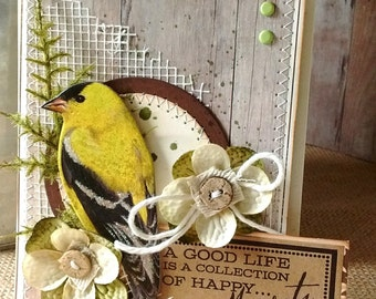 Goldfinch Good Life Moments - ART CARD - Shabby Naturalist Style
