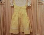 Vintage Yellow Smocked Flower Polly Flinders Spring Easter Little Girls Dress