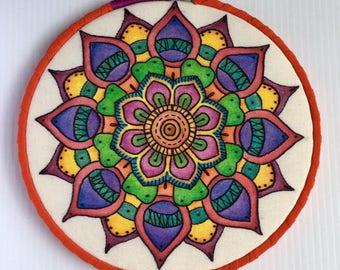 Intense Watercolor Hand Embroidered Mandala Hoop Art