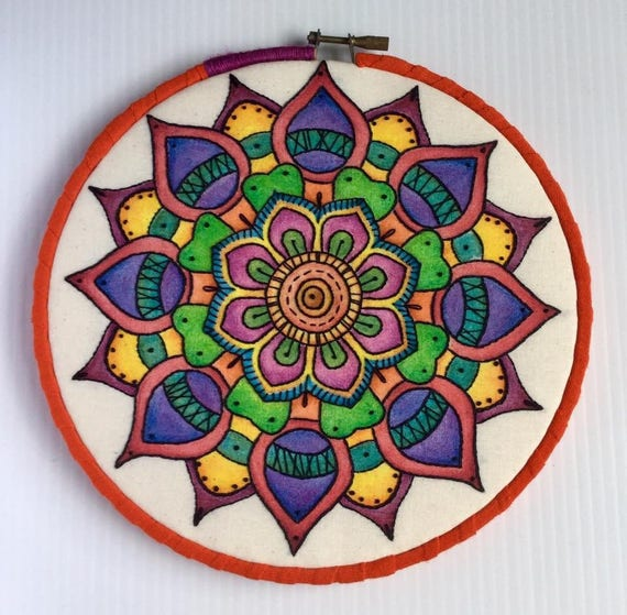 Intense Watercolor Hand Embroidered Mandala Hoop Art