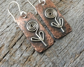 Rustic Flower Copper and Silver Dainty Dangle Earrings/Hammered Copper/Rustic Jewelry/Boho Chic