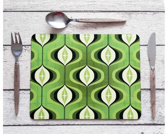 1970s Op Art Placemat Set - Green Placemats - Geometric placemats - Retro placemat Set - Green Tableware - Retro tableware - New Home Gift