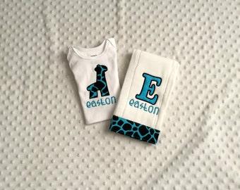 Baby Boy Personalized 2 Piece Gift Set  - Bodysuit and Burp Cloth-Giraffe Applique