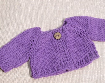 "Waldorf Doll Clothes -Hand knitted Purple  Color Sweater , fit 10"" inch dolls"
