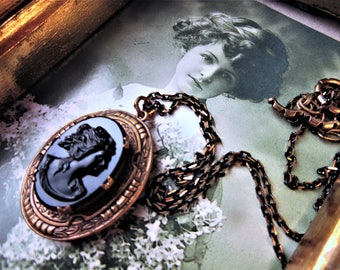 Gorgeous Black Resin Cameo Locket /Brass Stamped Pronged Setting with GoldBlack Chain with Toggle Connecor