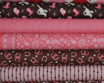 Cowgirl 7 Fat Quarters Bundle by Samantha Walker for Riley Blake, 1 3/4 yards total