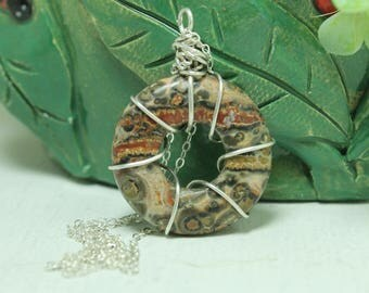 Leopard Skin Jasper pendant sterling silver Wire wrapped jewelry
