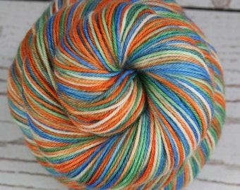 SALE - GATORS: Superwash Merino Wool-Nylon - Fingering / Sock Weight Yarn - Hand dyed variegated sock yarn - Univ of Florida Gators yarn