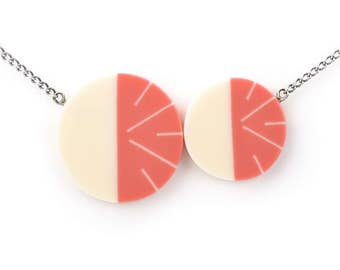 Lunula Necklace in Coral Pink and Ivory White
