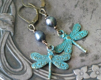 Dragonfly Earrings, Verdigris Patina, Peridot, Outlander Inspired