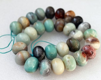 Beautiful Amazonite Smooth Rondelle Beads 18x13mm - 16 Inch Strand