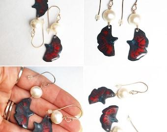 Large Pearl Enamel Poppy Dangle Earrings Rose Gold