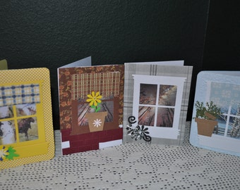 Four Handmade Looking through My Window Fall Note  Cards
