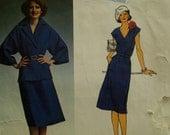 "70s Pierre Balmain V-neck Dress Pattern, Wide Sleeve Jacket, Notched Collar, Vogue Paris Original No. 1463 Size 14 (Bust 36""92cm)"
