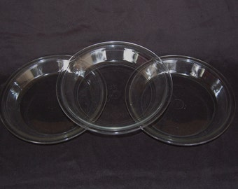 Set of 3 Vintage Pyrex 8 inch Pie Plates Pyrex 208 Clear Glass Pie Plates circa 1930-1950