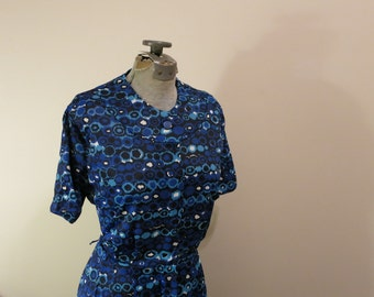 Dress blue graphic circles 1950s fit flare rockabilly L