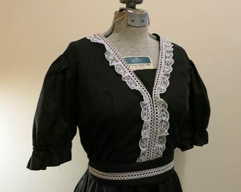 Dress black white lace French Maid pinup western country line dancing Jeri Bee M