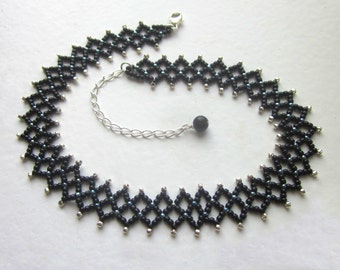 Beaded Choker Necklace Black Netted Womens Jewelry Woven Sexy Adjustable Birthday Gift