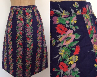 1970's Periwinkle Blue Floral Striped Quilted A-line Skirt Size XS by Maeberry Vintage
