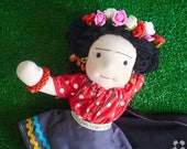 Frida kahlo doll, doll, unique doll, ooak doll, natural doll, dolls for collectores