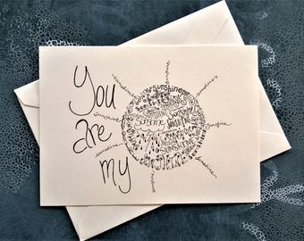 You Are My Sunshine Note Card. Single Card