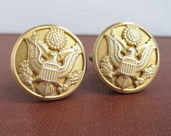 Cuff Links - Vintage Military Eagle Buttons - Repurposed Gold Tone, Large Size