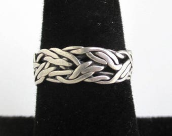 925 Sterling Silver Woven Ring - Vintage Handmade, Size 6 1/4
